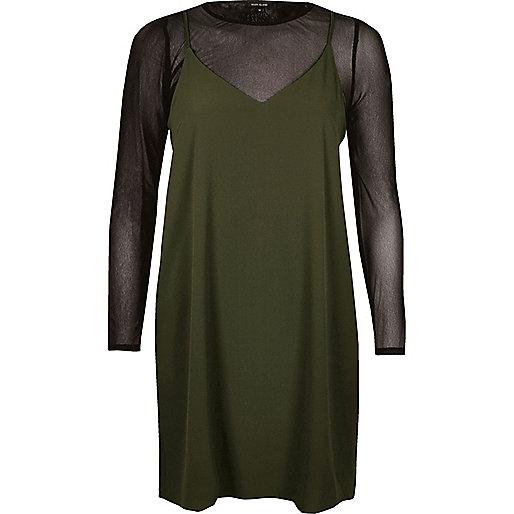 Khaki double layer mesh slip dress