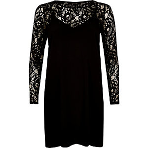 Black lace top slip dress