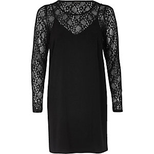 Black 2 in 1 lace slip dress