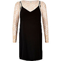 Black lace top slip dress