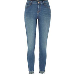 Amelie – Super Skinny Jeans mit Stufensaum in mittlerer Waschung
