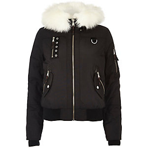 Black glam faux fur trim hooded bomber