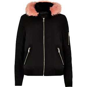 Black contrast faux fur hooded bomber jacket