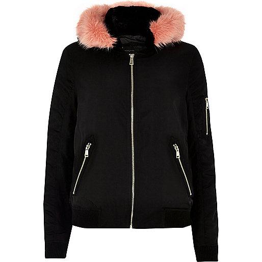 Black contrast faux fur hooded bomber jacket