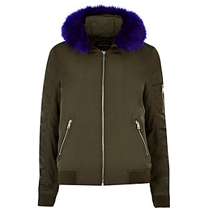 Khaki contrast faux fur hooded bomber jacket