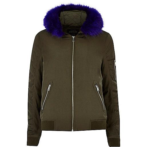 Khaki contrast faux fur hooded bomber jacket
