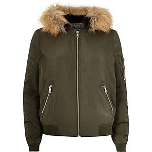 Khaki faux fur hooded bomber jacket
