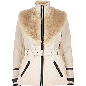 Blush pink faux fur trim padded jacket