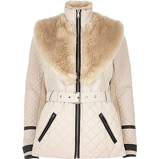 Blush pink faux fur trim padded jacket