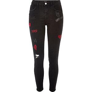 Black washed badge Amelie super skinny jeans