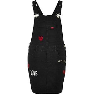 Black washed badge dungaree dress