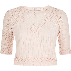Light pink embroidered mesh crop top