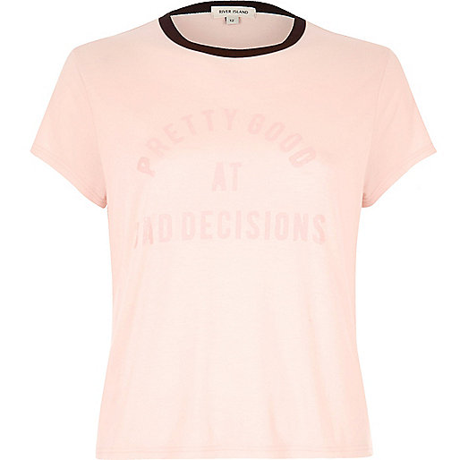 Pink bad decisions slogan tee