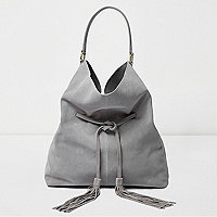 Grey suede drawstring slouch tote bag