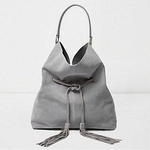 Graue Tote Bag aus Wildleder mit Kordelzug