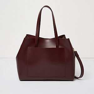 Dark red leather tote handbag