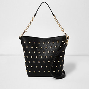 Black studded tote handbag