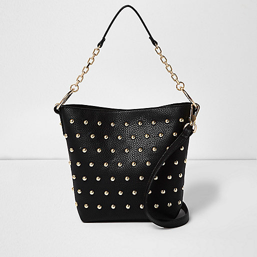 Black studded bucket bag