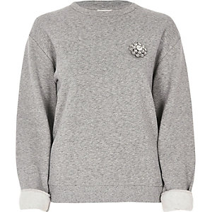 Grey brooch sweatshirt