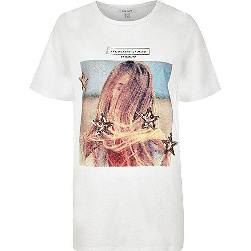 T-shirt boyfriend imprimé star beauty crème