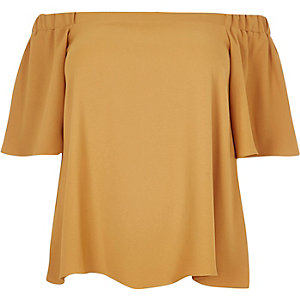 RI Plus dark yellow bardot top