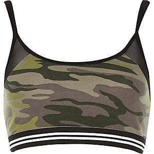Khaki camouflage mesh crop top