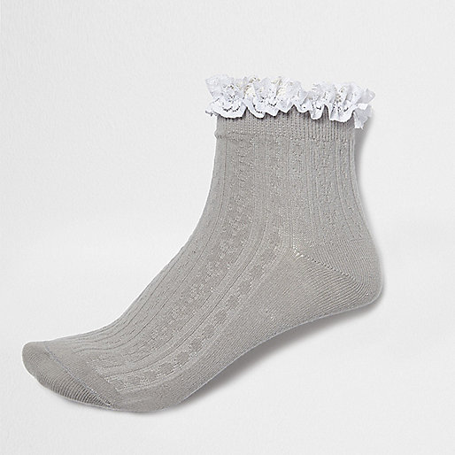 Grey frilly ankle socks