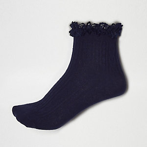 Navy frilly ankle socks