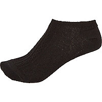 Black cable knit trainer socks