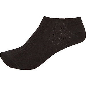 Black cable knit sneaker socks