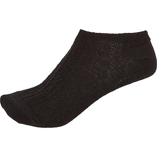 Black cable knit sneaker socks
