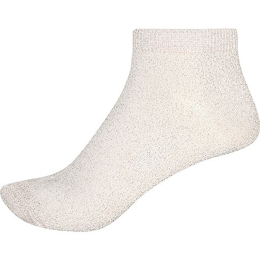 Metallic light pink ankle socks