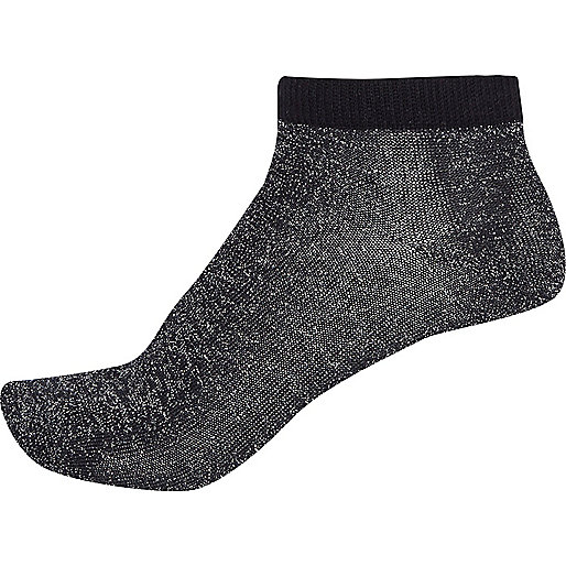 Metallic black ankle socks