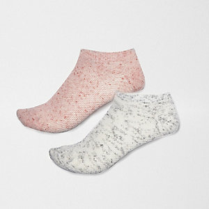Pink and grey pastel trainer socks multipack