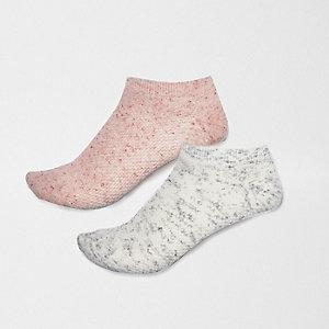 Pink and grey pastel sneaker socks pack
