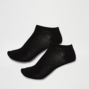 Black mesh sneaker socks pack