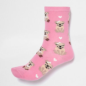 Pink smiley dog print ankle socks