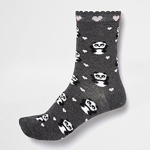Dark panda ankle socks