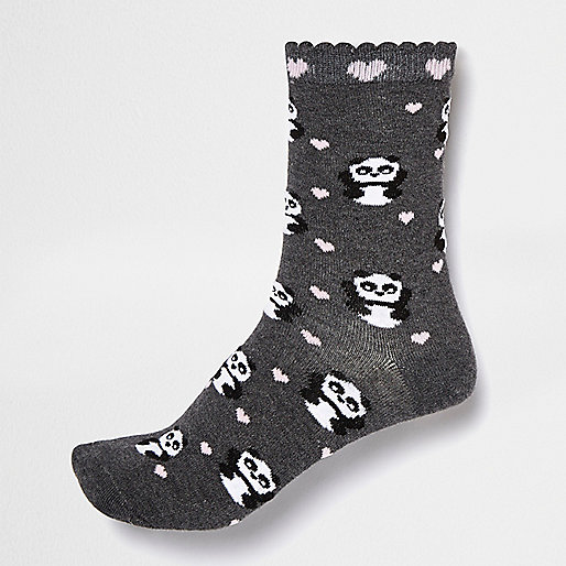 Dark panda ankle socks