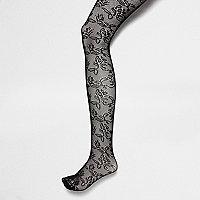 Collants en dentelle à fleurs noirs