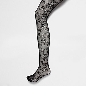 Black floral lace tights