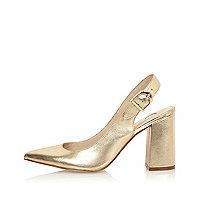 Chaussures en cuir doré à bride arrière et talons carrés