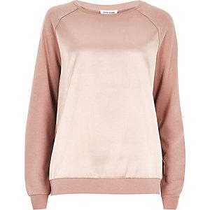 Pink satin front sweatshirt