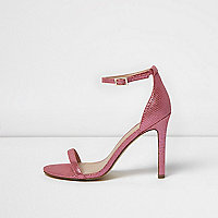 Pink scale effect barely there heeled sandals