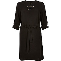 Black bar shirt dress