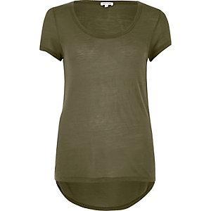 Khaki scoop neck T-shirt
