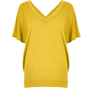 Yellow knit cross back jumper