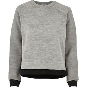 Grey trimmed side split jumper