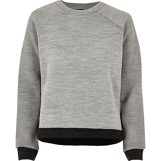 Grey trimmed side split sweater