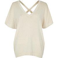 Cream knit cross back jumper
